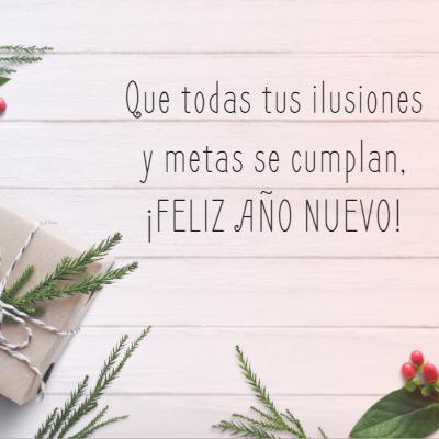 Frases para Año Nuevo - Que todas tus ilusiones y metas se cumplan,  ¡FELIZ AÑO NUEVO!