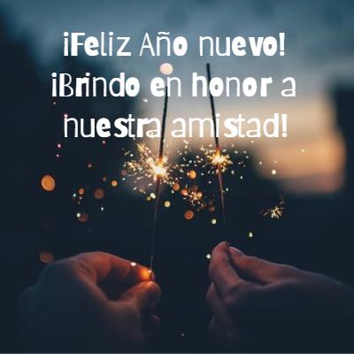 Frases para Año Nuevo - ¡Feliz Año nuevo!  ¡Brindo en honor a nuestra amistad!