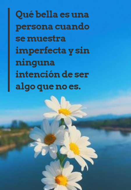 Frases para Reflexionar - Qué bella es una persona cuando se muestra imperfecta y sin ninguna intención de ser algo que no es.