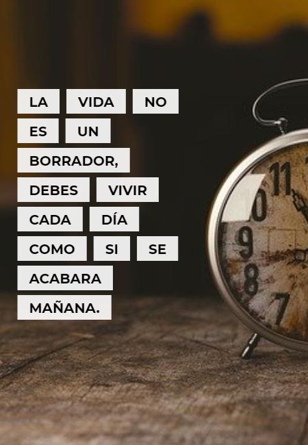 Frases sobre Pensamientos - La vida no es un borrador, debes vivir cada día como si se acabara mañana.