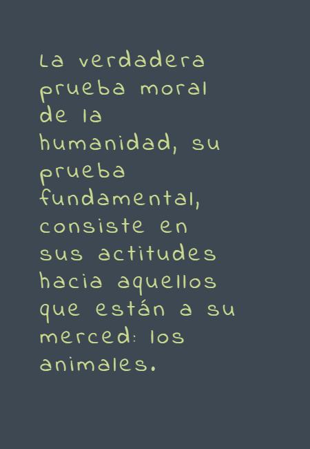 Frases de Animales - La verdadera prueba moral de la humanidad, su prueba fundamental, consiste en sus actitudes hacia aquellos que están a su merced: los animales.