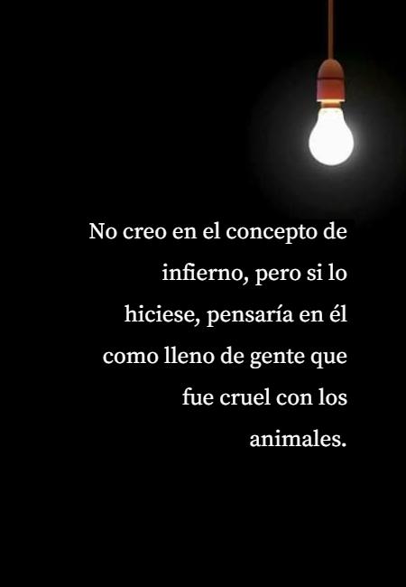 Frases de Animales - No creo en el concepto de infierno, pero si lo hiciese, pensaría en él como lleno de gente que fue cruel con los animales.